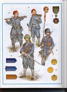 Ottoman army, 1877-78: 5: Private in overcoat, line infantry; 6: Junior NCO, line infantry; 7: Private in zouave overcoat, line infantry; 8: Private, light cavalry; A: Order of Osmanieh; B: Soldier uniform shoulder marks; C: Uniform buttons - infantry, cavalry & artillery