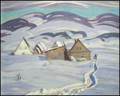 "Alexander Young Jackson, CC CMG – was a Canadian painter and a founding member of the Group of Seven. ""Winter Afternoon near Baie Saint-Paul, Quebec"" oil on canvas, circa 1924 Group Of Seven Art, Group Of Seven Paintings, Farm Paintings, Landscape Paintings, Emily Carr, Canadian Painters, Canadian Artists, Winter Painting, Winter Art"