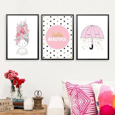 New Arrival Limited Modern Nordic Girl Umbrella Art Prints And Posters Wall Pictures For Living Room Kids Painting On The Wall -in Painting & Calligraphy from Home & Garden on Aliexpress.com | Alibaba Group