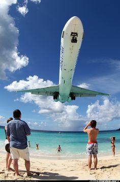 McDonnell Douglas over Maho beach (SXM). Oh The Places You'll Go, Places To Travel, Destination Soleil, Image Avion, Jamaica, Saint Martin, Bahamas, Caribbean Cruise, Caribbean Sea