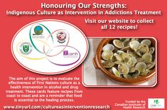 Clam Fritters and Clam Chowder recipes from the Tsow-Tun Le Lum Society in British Columbia for the Honouring Our Strengths: Indigenous Culture as Intervention in Addictions Treatment (HOS:CasI) project Clam Chowder Recipes, Gambling Addiction, Alcohol Is A Drug, 12 Recipe, Food Shows, Clams, Recipe Cards, Fritters, British Columbia