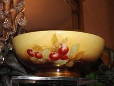 Limoges Footed Bowl with Plump Cherries Signed Pickard Artist Rean from allthingslovelee on Ruby Lane