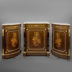 A Fine Louis XVI Style Marquetry Inlaid Side Cabinet And Encoignures En  Suite Antique Dining Rooms