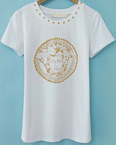 White Short Sleeve Bead Loose T-Shirt EUR€15.70