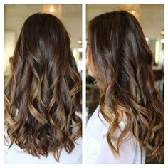 Dark brown hair with subtle caramel highlights, love!