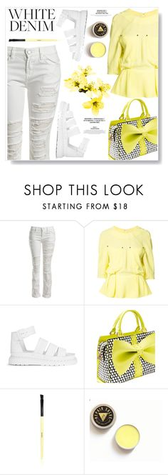 """""""Bright White: Summer Denim"""" by ucetmal-1 ❤ liked on Polyvore featuring Sans Souci, Thierry Mugler, Dr. Martens, Betsey Johnson and Bobbi Brown Cosmetics"""
