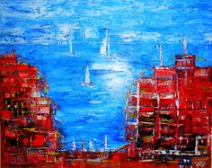 CINQUE TERRE Oil  Canvas Spatula Wet in Wet 80 x 100 cm