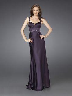 A-line Dark Purple Strap Sequare Neckline Open Back Prom Dress With Embellished Trim