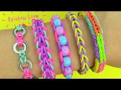 Rainbow Loom Bracelets Easy, Loom Band Bracelets, Rainbow Loom Tutorials, Rainbow Loom Patterns, Rainbow Loom Bands, Rainbow Loom Charms, Rubber Band Bracelet, Bracelet Crafts, Macrame Bracelets