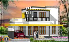 Free floor plan and elevation of 1600 square feet flat roof house with 3 bedroom by AmVi Infra, Palakkad, Kerala. House Map, Duplex House, 20x30 House Plans, 1000 Sq Ft House, Free Floor Plans, Luxury Floor Plans, Flat Roof House, House Plan With Loft, Kerala House Design