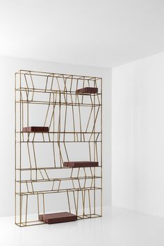 LIBRERIA 003DIMORESTUDIO, PROGETTO NON FINITO2006Shelving with structure in painted metal or oxidised brass.Shelves available in smokey glass, glass, marble, brass or painted metal.w.350 x d.25 x h.160 cmw.250 x d.25 x h.250 cmw.230 x d.25 x h.200 cmw.150 x d.25 x h.250 cm