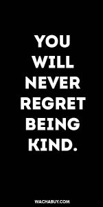 #inspiration #quote / YOU  WILL  NEVER REGRET BEING  KIND.