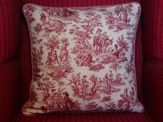 Toile Pillow Cover, French Country Red Toile, Red and White Decorative Throw Pillow, Country Decor,  18 in cushion. $38.00, via Etsy.