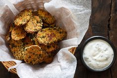 """Oven """"Fried"""" Pickles with Skinny Herb Buttermilk Ranch Dip.I've done the oven 'fried' pickles before and they were amazing.hopefully this recipe is just as amazing! I Love Food, Good Food, Yummy Food, Healthy Snacks, Healthy Eating, Healthy Recipes, Veggie Recipes, Yummy Recipes, The Ranch"""