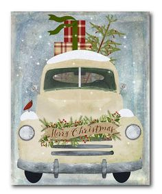 Add a holiday vibe to your home's décor with this upbeat canvas boasting a gorgeous texture-rich illustration. Shipping note: This item is made to order. Allow extra time for your special find to ship. Christmas Truck, Christmas Signs, Country Christmas, Christmas Pictures, All Things Christmas, Vintage Christmas, Christmas Holidays, Christmas Decorations, Xmas