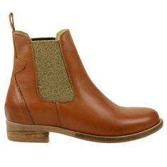 Chelsea-Boots Glitter - cognac // Damenschuhe // 89.99 // SachaSchuhe.de