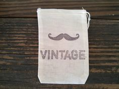 #Vintage #Hipster #wedding. Rustic Mustache Favor Bag by SweetThymes.etsy.com