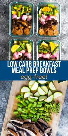 Start the day off right with these low carb breakfast meal prep bowls! Sautéed portobello mushrooms are served with asparagus, zucchini, red onion and Italian sausage, all with just 8 g net carbs. Low Carb Breakfast, Best Breakfast Recipes, Meal Prep Bowls, Asparagus, Portobello Mushroom Recipes, Sausage, Prepping, Stuffed Mushrooms, Spiralizer Recipes