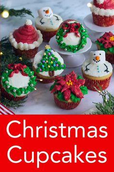 Christmas Cupcakes Decoration, Christmas Cake Designs, Holiday Cupcakes, Holiday Treats, Holiday Recipes, Christmas Recipes, Christmas Cupcake Cake, Chrismas Cake, Christmas Themed Cake