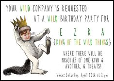 where the wild things are invite