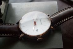 Automatic Minimalist Wrist Watch: Handmade Italian calf leather strap