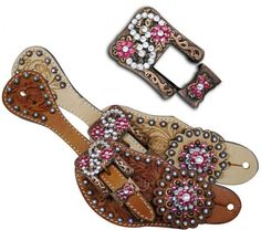Showman™ Ladies Tooled Leather Spur Straps with Vintage Style Buckle and Crystal Rhinestone Conchos