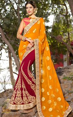 Bewitching Maroon and Orange Latest Online Saree