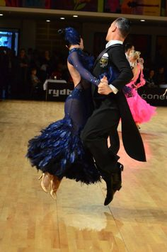 #blue #black #feather #standard #ballroom #dress