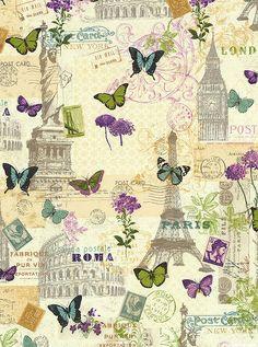 International Vintage Postage - Buttercreme