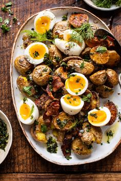 Crispy Breakfast Potatoes with Chili Garlic Oil and Herbs | halfbakedharvest.com #potatoes #breakfast #easyrecipes #brunch