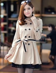 Elegant Style Double-Breasted Buckle Trench Coat for Women