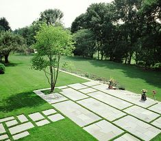Rectangular pavers with turf