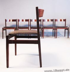 A set of six dining chairs, designed in 1960 by Gianfranco Frattini for Cassina.