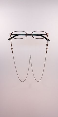 a439c00e7a5 Eyeglasses chain (gun metal) with dark colored natural flint beads