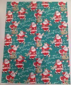 VINTAGE CHRISTMAS WRAPPING PAPER & BOX - SANTA ON TELEPHONE 1950's | eBay