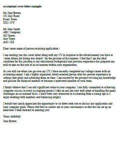 Accountant Application Letter Accountant Cover Letter Example Cv