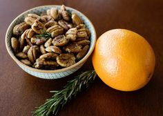 orange and rosemary pecans from baked bree