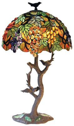 TIFFANY GRAPES & LEAVES WITH BIRDS  * AMBERS GREEN NEW STAINED GLASS TABLE LAMP