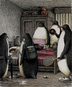 the penguins surrounded her bed, all ready for adventure.
