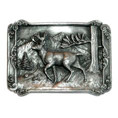 Vintage Solid Brass Leaping Forest Buck Belt Buckle