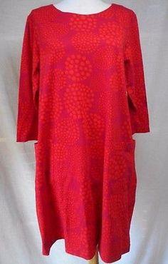 nwt-Marimekko-Paletti-Dress-L-Pallero-Print-Magenta-Orange-A-Line-Shift-Stretchy