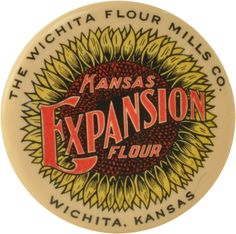 """Bright celluloid pocket mirror for Kansas Expansion Flour by The Wichita Flour Mills Co of Wichita Kansas. Advertising features great vintage hand lettered typeface with bright and beautiful sunflower design behind it. Advertising and celluloid are in terrific condition, mirror on reverse is cracked. Marked on rim Cruver Mfg Co Chicago. size: 2.25"""" dia."""