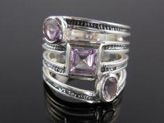 Amethyst Gemstone Sterling Silver Ring - Size 7