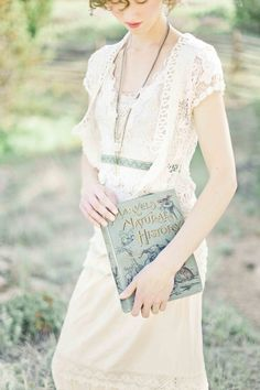 Lovely dress. Awesome old book.