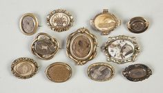 Group of Victorian Mourning Brooches