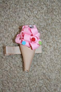 SALE Strawberry Ice Cream Cone - custom boutique hair bow clip clippie ribbon sculpture accessory. $3.50, via Etsy.