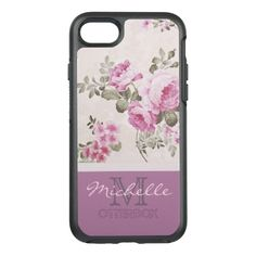 Purple Lavender Rose With Monogram and Name OtterBox Symmetry iPhone 7 Case
