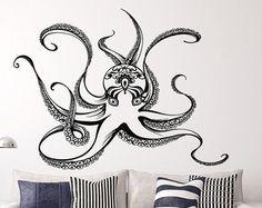Octopus Wall Vinyl Decals Octopus Modern Art Sticker Tentacles Decal Sea Ocean Animals Vinyl Sticker For Bedroom Bathroom Home Decor FD148