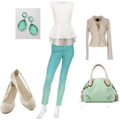 """""""Office/Casual Wear: Mint and White"""" by radsstylebook on Polyvore"""