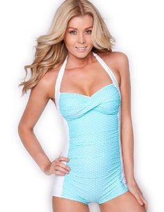 Sheridyn Swim - Monroe boyleg one piece swimsuit - Large/AU 14 - Aqua/White polka dots Sheridyn Swim,http://www.amazon.com/dp/B008NUVW60/ref=cm_sw_r_pi_dp_M3G0rb04A8KWS369